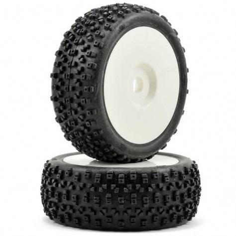 HB RACING PROTOS Mounted Tire (Red/White Wheel/ 1/8 Buggy/2pcs)