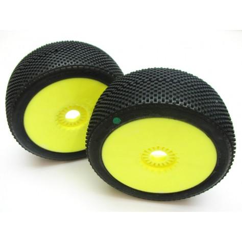 6MIK PURSUIT GREEN 1/8 Buggy Tyres Glued on Yellow Wheels - 1pr