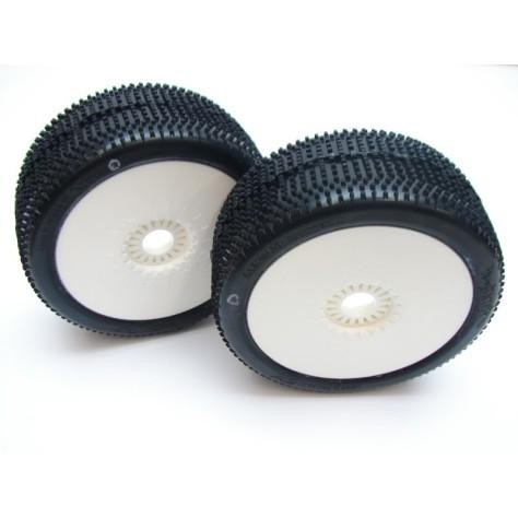 6MIK BARRACUDA SILVER 1/8 Buggy Tyres Glued on White Wheels - 1pr